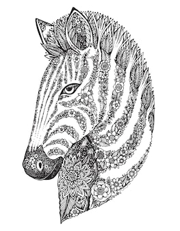 Testa di zebra ornato grafico disegnato a mano con motivo floreale etnico di doodle. illustrazione per libro da colorare, tatuaggio, stampa su t-shirt, borsa. su uno sfondo bianco.