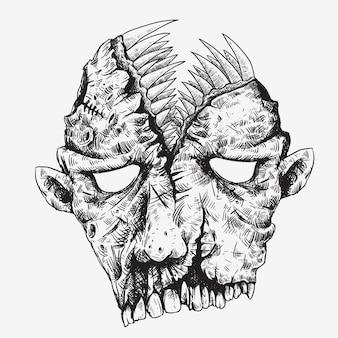 Testa di zombie con grande bocca sul disegno di mano superiore