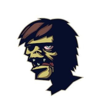 Testa di zombie dei cartoni animati