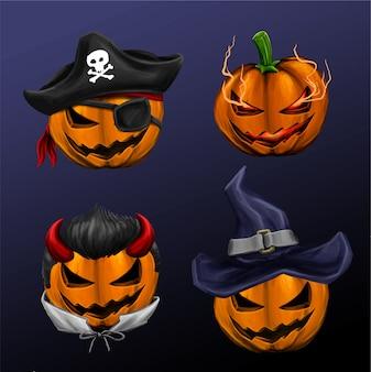 Testa di zucca halloween con un diverso carattere cool