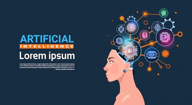 Testa femminile con cyber brain cog wheel and gears concetto di banner di intelligenza artificiale con lo spazio della copia