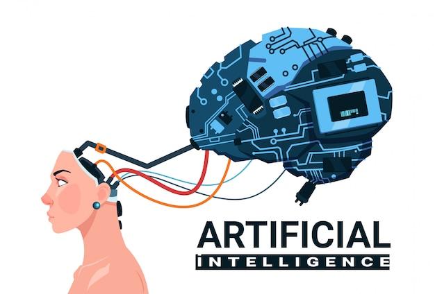 Testa femminile con il cervello moderno del cyborg isolato sul concetto bianco di intelligenza artificiale del fondo