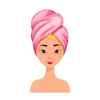 Testa femminile di bellezza con un asciugamano sui capelli. stile cartone animato. illustrazione vettoriale