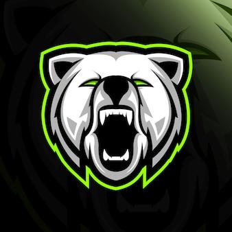 Testa grizzly logo mascotte design e-sport