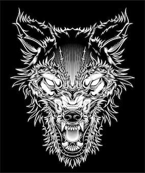 Testa illustrazione feroce lupo, contorno sagoma su uno sfondo nero