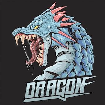 Testa selvaggia selvaggia selvaggia di bestia del drago
