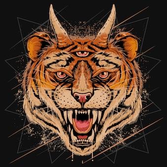 Testa tigre angry face con corno e tre occhi dettaglio con strati editabili effetto grunge