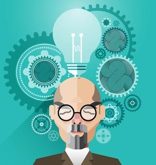 Testa umana con il concetto creativo di idea di concetto-affare di idea della lampadina