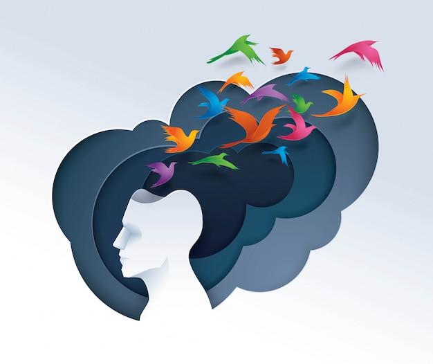 Testa umana con uccelli colorati che volano dalla testa