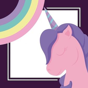 Testa unicorno carino con arcobaleno di fiaba