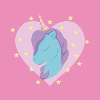 Testa unicorno carino di fiaba con il cuore