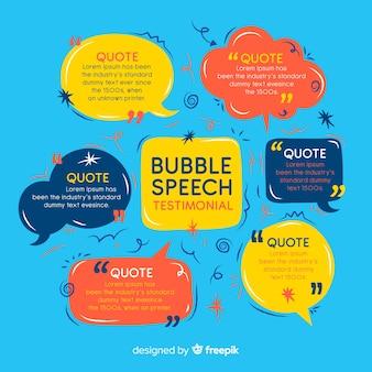 Testimonial bolla di discorso