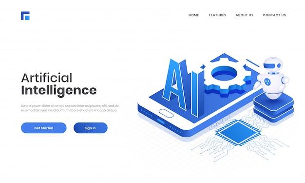 Testo 3d ai sullo schermo dello smartphone con circuito stampato e robot android per la progettazione della pagina di destinazione basata sul concetto di intelligenza artificiale.