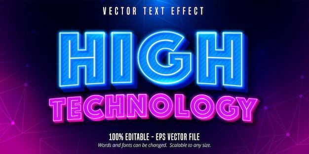 Testo ad alta tecnologia, effetto testo modificabile in stile neon