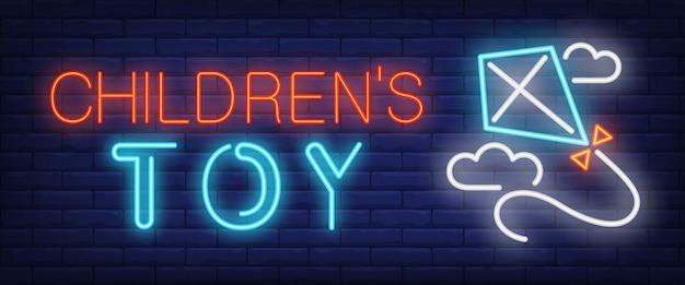 Testo al neon del giocattolo dei bambini con l'aquilone di volo