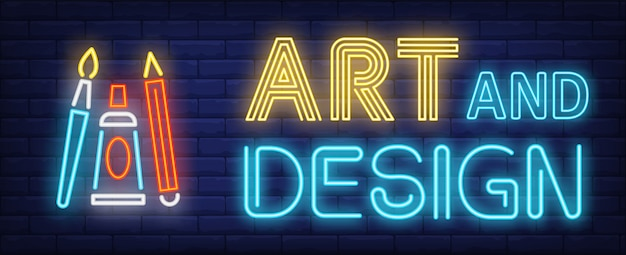 Testo al neon di arte e design con pennello, matita e tubo di vernice