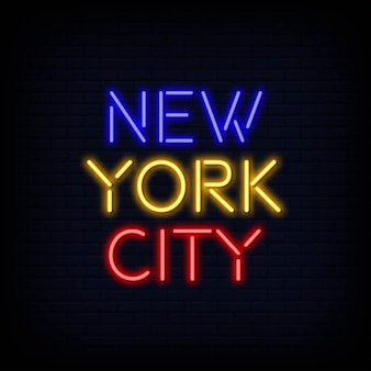 Testo al neon di new york city