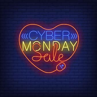 Testo al neon di vendita di lunedì cyber nel cuore