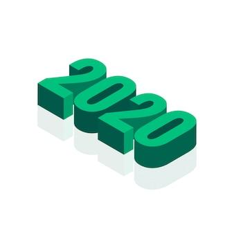 Testo astratto del nuovo anno 3d 2020 su bianco