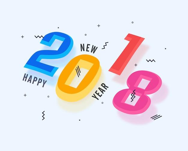 Testo colorato elegante 2018 per festeggiamenti felici di capodanno.