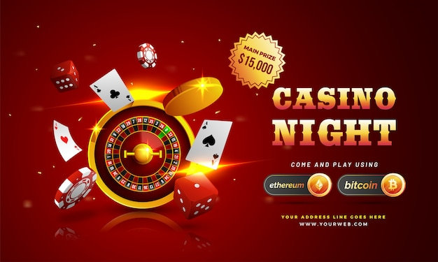 Testo d'oro casino night con chip 3d