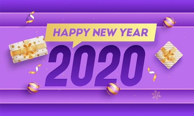 Testo del buon anno 2020 con i contenitori e le bagattelle di regalo di vista superiore su fondo di carta di sovrapposizione porpora