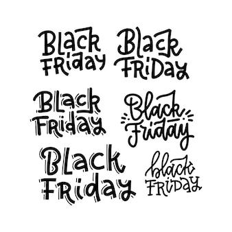 Testo dell'iscrizione di tipografia di black friday impostato su fondo bianco per il modello del manifesto o dell'insegna della pubblicità .