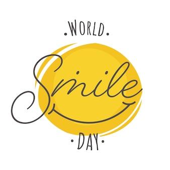 Testo della giornata mondiale del sorriso con faccina sorridente creativa su sfondo bianco.