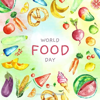 Testo della giornata mondiale dell'alimentazione circondato da alimenti