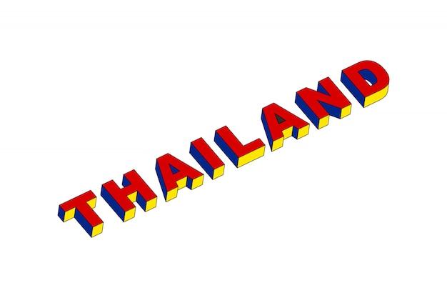 Testo della tailandia con effetto isometrico 3d