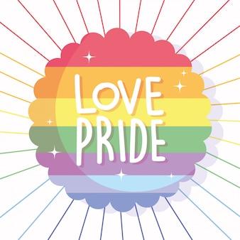 Testo di amore e orgoglio davanti al timbro sigillo bandiera lgtbi