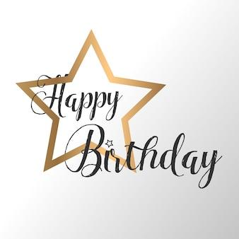 Testo di calligrafia di carta di buon compleanno con stella dorata