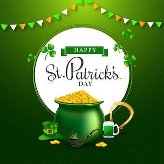 Testo di happy st. patrick's day a forma circolare bianca con pentola di monete, ferro di cavallo, boccale di birra, pipa da fumo e cappello da leprechaun
