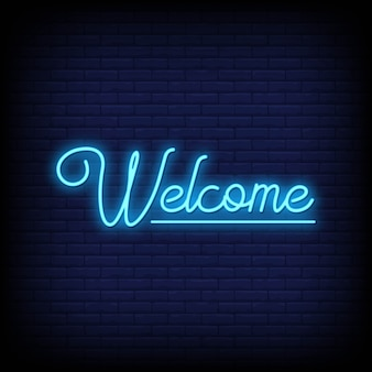 Testo di insegne al neon di benvenuto