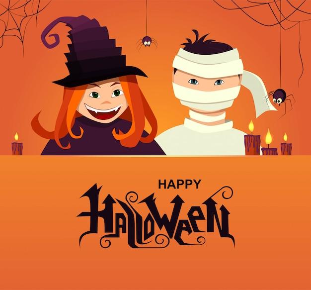 Testo di lettering mano felice halloween. personaggi di strega e diavolo con ragni e candele.