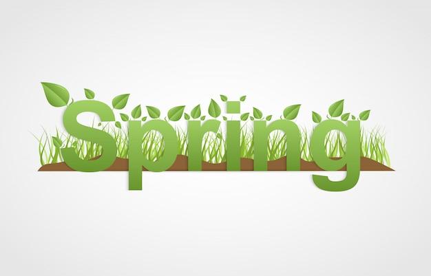 Testo di primavera con foglie verdi.