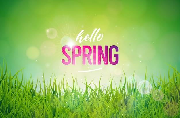 Testo di primavera. modello di disegno floreale con tipografia lettera