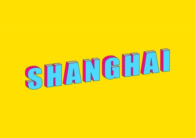 Testo di shanghai con effetto isometrico 3d
