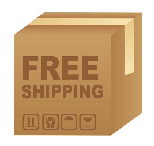 Testo di spedizione gratuito su scatola di cartone
