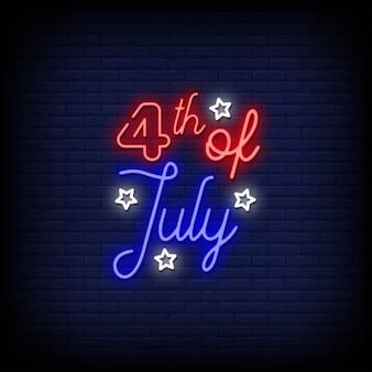 Testo di stile delle insegne al neon del 4 luglio