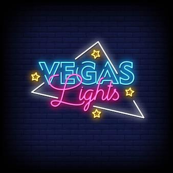 Testo di stile delle insegne al neon delle luci di vegas