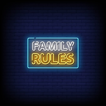 Testo di stile delle insegne al neon delle regole di famiglia