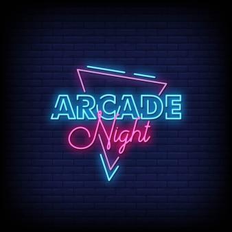 Testo di stile delle insegne al neon di arcade night
