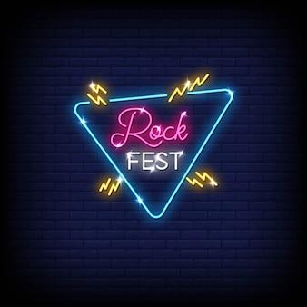 Testo di stile delle insegne al neon di festival rock