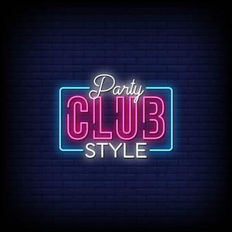 Testo di stile delle insegne al neon di stile del club del partito