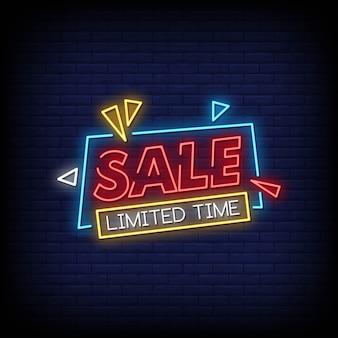 Testo di stile delle insegne al neon di tempo limitato di vendita