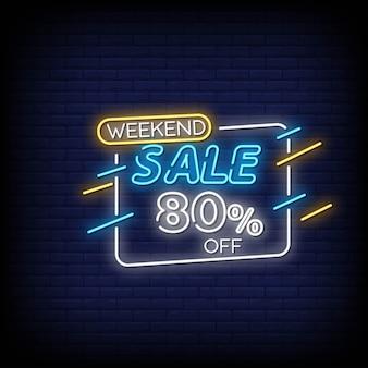 Testo di stile delle insegne al neon di vendita di fine settimana