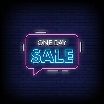Testo di stile delle insegne al neon di vendita di un giorno