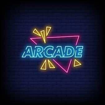 Testo di stile di insegne al neon arcade