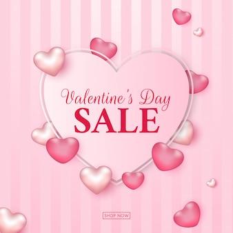 Testo di vendita di san valentino a forma di cuore.